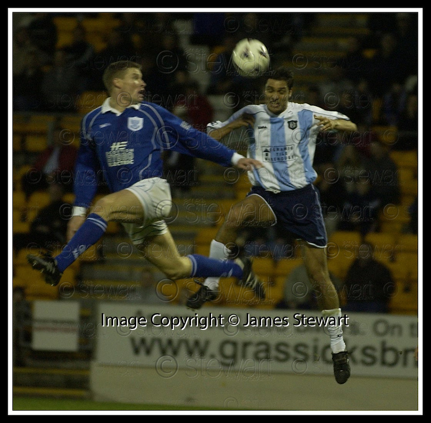 08/12/2001                 Copyright Pic : James Stewart .Ref : DSC_4096                          .File Name : stewart06-st johnstone v dundee.DARREN DODS AND JUAN SARA CHALLENGE FOR THE BALL.......James Stewart Photo Agency, Stewart House, Stewart Road, Falkirk. FK2 7AS      Vat Reg No. 607 6932 25.Office     : +44 (0)1324 630007     .Mobile  : + 44 (0)7721 416997.Fax         :  +44 (0)1324 630007.E-mail  :  jim@jspa.co.uk.If you require further information then contact Jim Stewart on any of the numbers above.........