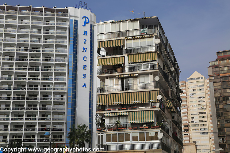 Princesa hotel and high rise apartment buildings,  Benidorm, Alicante province,  Spain