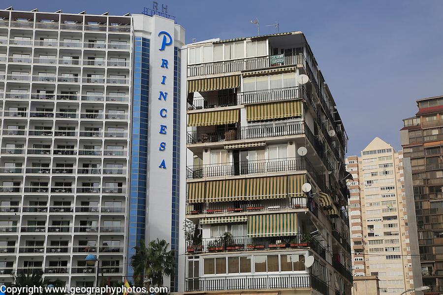 Princesa hotel and high rise apartment buildings,  Benidorm, Alicante province,  Spain