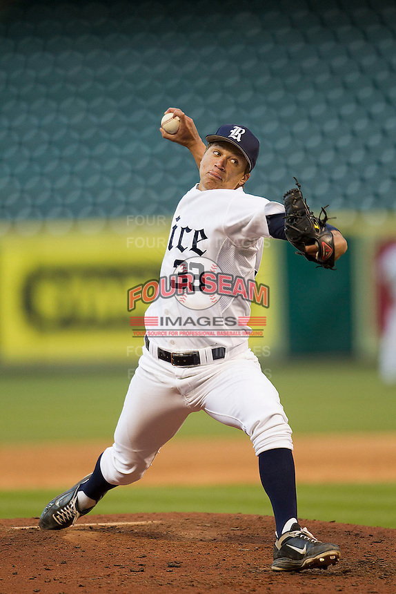 Rice Owls pitcher Zech Lemond #33 delivers a pitch during the NCAA baseball game against the North Carolina Tar Heels on March 1st, 2013 at Minute Maid Park in Houston, Texas. North Carolina defeated Rice 2-1. (Andrew Woolley/Four Seam Images).