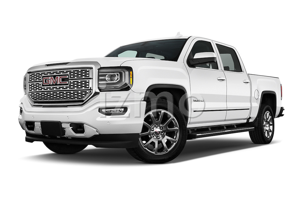 Stock pictures of low aggressive front three quarter view of 2016 GMC Sierra 1500 Denali 4WD Crew Cab Short Box Denali 4 Door Pick-up Low Aggressive