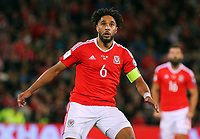Ashley Williams of Wales in action during the FIFA World Cup Qualifier Group D match between Wales and Republic of Ireland at The Cardiff City Stadium, Wales, UK. Monday 09 October 2017