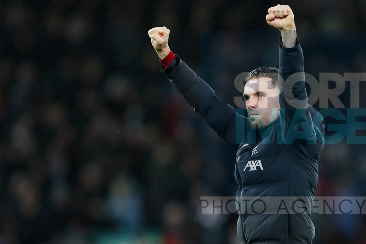 Jordan Henderson of Liverpool celebrates after the Premier League match at Anfield, Liverpool. Picture date: 1st February 2020. Picture credit should read: James Wilson/Sportimage