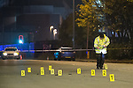 © Joel Goodman - 07973 332324 . 3 November 2013 . Upper Brook Street nr junction of Grafton Street , Manchester , UK . Police crash scene investigators work at the scene of a reported hit and run in which a man was seriously injured . Photo credit : Joel Goodman