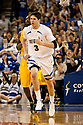 18 February 2012: Doug McDermott #3 of the Creighton Bluejays runs back down court during the first half against the Long Beach State 49ers at the CenturyLink Center in Omaha, Nebraska. Creighton defeated Long Beach State 81 to 79.