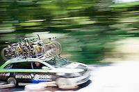 speeding Bretagne-S&eacute;ch&eacute; Environnement car<br /> <br /> stage 10: Tarbes - La Pierre-Saint-Martin (167km)<br /> 2015 Tour de France