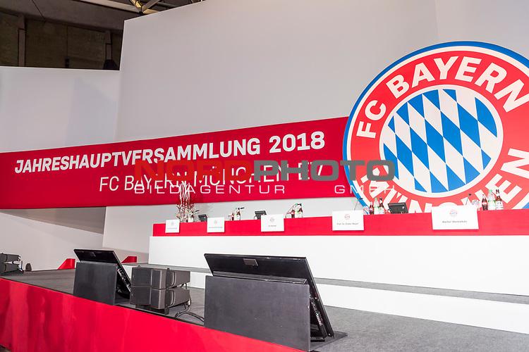 30.11.2018, Audi Dome, Muenchen, GER, FC Bayern Jahreshauptversammlung 2018, im Bild feature Schild Jahreshauptversammlung <br /> <br /> Foto © nordphoto / Straubmeier