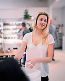 USA, California, Los Angeles, actress Whitney Port buying food at Joan's On Third Cafe.