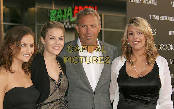 "LILY COSTNER, ANNIE COSTNER, KEVIN COSTNER & CHRISTINE BAUMGARTN.""Mr. Brooks"" Los Angeles Premiere at Grauman's Chinese Theatre, Hollywood, California, USA..May 22nd, 2007.half length grey gray suit jacket white black soul patch facial hair married husband wife couple daughter family .CAP/ADM/RE.©Russ Elliot/AdMedia/Capital Pictures"