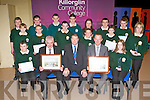 Entrepreneur Danny O'Sullivan and Footballer Liam Hassett with the students who were honored for the achievements at the Killorglin Community College awards on Thursday night front row l-r: Brendan Sweeney, Danny O'Sullivan, Con Moynihan, Liam Hassett and Paige Kemp. Middle row: Donal Moore, Jordan Murphy, Daniel Ahern, Shane Ahern, Michael O'Shea, Hayley Sheehan. Back row: Timmy Galvin, John O'Brien, Mike O'Shea, Jonathan O'Sullivan, Bridie O'Connor, Mickie Healy and Jerry Horgan..