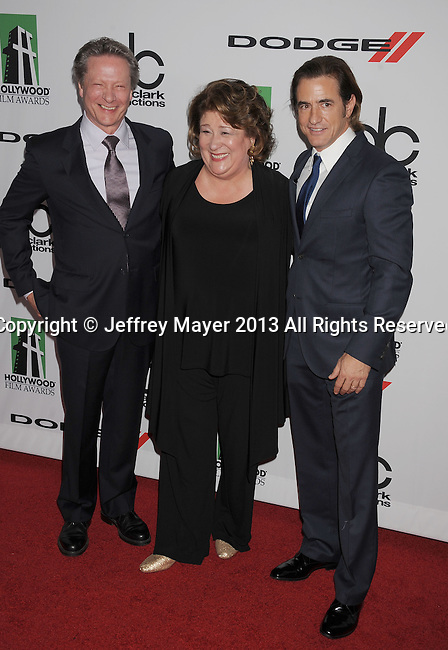 BEVERLY HILLS, CA- OCTOBER 21: (L-R) Actors Chris Cooper; Margo Martindale; Dermot Mulroney  arrive at the 17th Annual Hollywood Film Awards at The Beverly Hilton Hotel on October 21, 2013 in Beverly Hills, California.