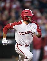 NWA Democrat-Gazette/BEN GOFF @NWABENGOFF<br /> Jack Kenley, Arkansas second baseman, runs after hitting a single in the 3rd inning vs LSU Thursday, May 9, 2019, at Baum-Walker Stadium in Fayetteville.