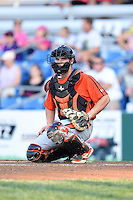 Aberdeen IronBirds catcher Alex Murphy (32) looks to the dugout during a game against the Williamsport Crosscutters on August 4, 2014 at Bowman Field in Williamsport, Pennsylvania.  Aberdeen defeated Williamsport 6-3.  (Mike Janes/Four Seam Images)