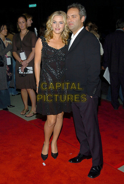 "KATE WINSLET & SAM MENDES.""Finding Neverland"" Los Angeles Premiere held at the Academy of Motion Pictures, Beverly Hills,  California, USA, 11th November 2004..full length married husband wife little black beaded dress.Ref: ADM.www.capitalpictures.com.sales@capitalpictures.com.©V.Summers/AdMedia/Capital Pictures ."