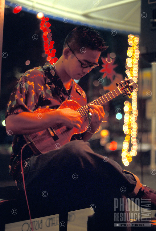 Local Hawaiian favorite ukulele maestro Jake Shimabukuro performing at Aloha Tower