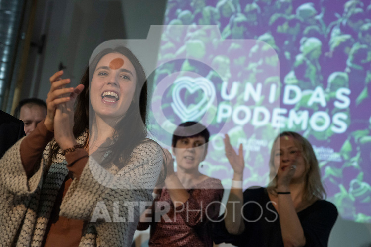 """Irene Montero in the act of beginning of the campaign """"Unidas Podemos"""" in Madrid. The spokesman of this party in Congress, Irene Montero, and the federal coordinator of IU, Alberto Garzón, intervene in it.<br /> October 31, 2019. <br /> (ALTERPHOTOS/David Jar)"""
