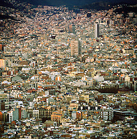 Cityscape view of Barcelona as seen from the hill called Montjuïc, Spain