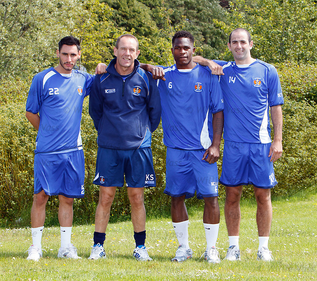 Kilmarnock manager Kenny Shiels with new signings Danny Racchi, Patrick Ada and Gary Harkins