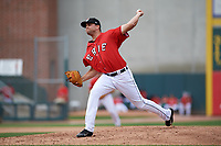 Erie SeaWolves relief pitcher Matt Crouse (51) delivers a pitch during a game against the Akron RubberDucks on August 27, 2017 at UPMC Park in Erie, Pennsylvania.  Akron defeated Erie 6-4.  (Mike Janes/Four Seam Images)