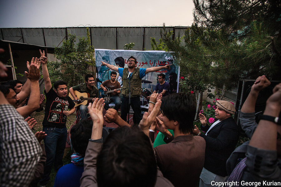 Protest music being performed at the PEN premises.