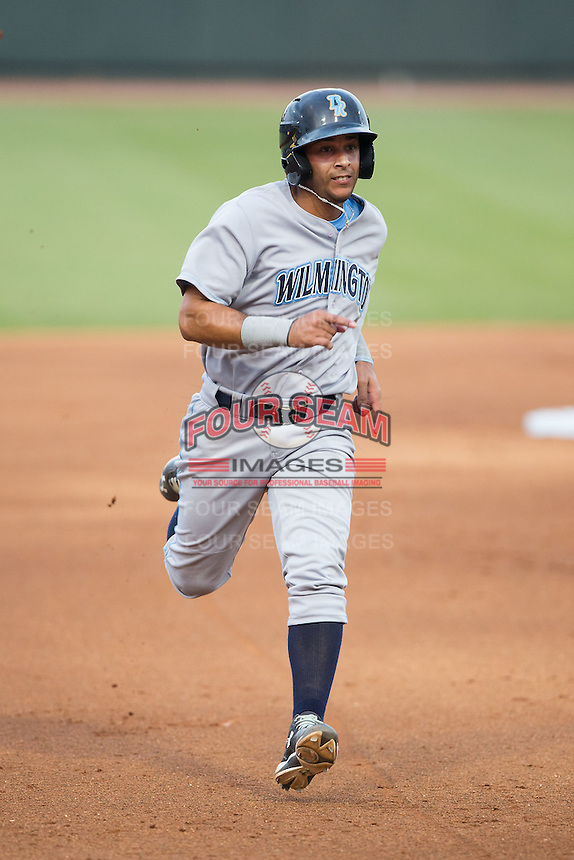 Ramon Torres (22) of the Wilmington Blue Rocks hustles towards third base against the Winston-Salem Dash at BB&T Ballpark on June 10, 2015 in Winston-Salem, North Carolina.  The Blue Rocks defeated the Dash 11-5.  (Brian Westerholt/Four Seam Images)