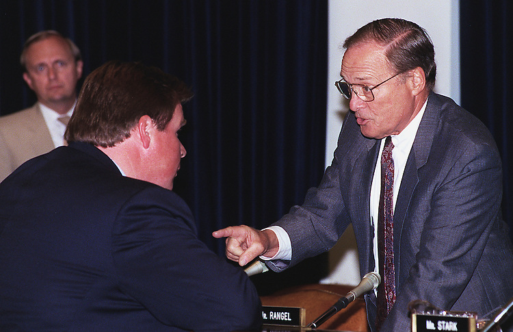 6/11/97.HOUSE WAYS AND MEANS:House Ways and Means Committee Chairman Bill Archer R-Texas talks with Rep. J.D. Hayworth R-Ariz. before panel's tax markup session..CONGRESSIONAL QUARTERLY PHOTO BY DOUGLAS GRAHAM