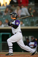 Lee Cruz of the Lancaster JetHawks during game against the Visalia Rawhide at Clear Channel Stadium in Lancaster,California on June 10, 2010. Photo by Larry Goren/Four Seam Images