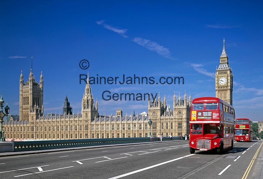 England, London: House of Parliament, Big Ben und Westminster Bridge | United Kingdom, London: House of Parliament, Big Ben and Westminster Bridge