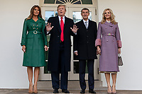 United States President Donald J. Trump and First Lady Melania Trump pose for a photo with the Prime Minister of the Czech Republic Andrej Babis and his wife Monika Babisova as they arrive at the White House in Washington, D.C. on March 7, 2019. <br />   <br /> CAP/MPI/CNP/AE<br /> &copy;AE/CNP/MPI/Capital Pictures