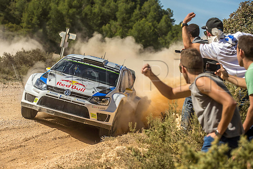 24.10.2014. Catalonia, Spain. WRC Rally of Spain. Andreas Mikkelsen (NOR) and Ola Floene (NOR) -Volkswagen Polo WRC Motorsport