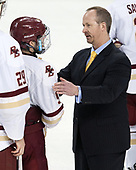 Austin Cangelosi (BC - 9), Kevin Sneddon (UVM - Head Coach) - The Boston College Eagles defeated the University of Vermont Catamounts 7-4 on Saturday, March 11, 2017, at Kelley Rink to sweep their Hockey East quarterfinal series.The Boston College Eagles defeated the University of Vermont Catamounts 7-4 on Saturday, March 11, 2017, at Kelley Rink to sweep their Hockey East quarterfinal series.