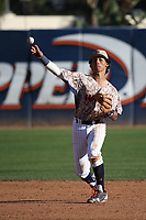 Quincy McAfee (4) of the Pepperdine Waves throws to first base during a game against the Fresno State Bulldogs at Eddy D. Field Stadium on March 7, 2017 in Los Angeles, California. Pepperdine defeated Fresno State, 8-7. (Larry Goren/Four Seam Images)