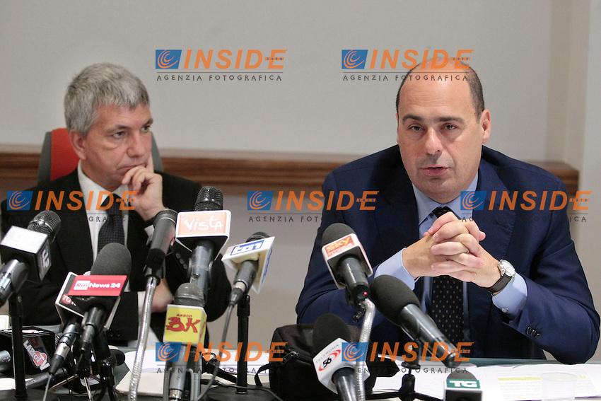 Nichi Vendola e Nicola Zingaretti.Roma 16/05/2013 conferenza stampa sul patto di stabilita'..Photo Samantha Zucchi Insidefoto