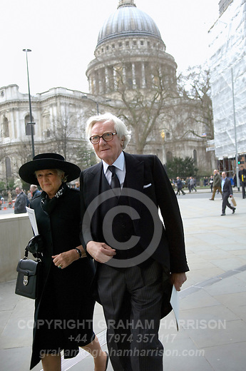 Lord Michael Heseltine with his wife Ann on Cheapside walk towards the Guildhall after leaving St Paul's Cathedral following the funeral of Margaret Thatcher, London 17 April 2013. &quot;Let history judge her,&quot; Heseltine told the Daily Telegraph on 5 April 2013, three days before her death.<br /> <br /> Margaret Thatcher (1925-2013) was a radical Conservative politician and British Prime Minister from 1979 to 1992.  <br /> <br /> PHOTO COPYRIGHT GRAHAM HARRISON graham@grahamharrison.com<br /> +44 (0) 7974 357 117<br /> Moral rights asserted.