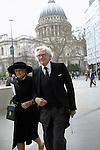 Lord Michael Heseltine with his wife Ann on Cheapside walk towards the Guildhall after leaving St Paul's Cathedral following the funeral of Margaret Thatcher, London 17 April 2013. &quot;Let history judge her,&quot; Heseltine told the Daily Telegraph on 5 April 2013, three days before her death.<br />