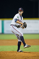 Danville Braves relief pitcher Zach Rice (45) in action against the Burlington Royals at Burlington Athletic Stadium on August 14, 2017 in Burlington, North Carolina.  The Royals defeated the Braves 9-8 in 10 innings.  (Brian Westerholt/Four Seam Images)