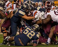 Pitt linebacker Matt Galambos (47) makes a tackle. The Virginia Tech Hokies defeated the Pitt Panthers 39-36 on October 27, 2016 at Heinz Field in Pittsburgh, Pennsylvania.