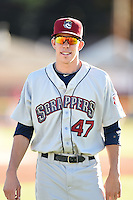 Mahoning Valley Scrappers outfielder Bradley Zimmer (47) before a game against the Batavia Muckdogs on June 21, 2014 at Dwyer Stadium in Batavia, New York.  Batavia defeated Mahoning Valley 10-6.  (Mike Janes/Four Seam Images)