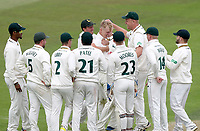 Lyndon James of Nottinghamshire is surrounded by his team having taken his maiden wicket during Nottinghamshire CCC vs Essex CCC, Specsavers County Championship Division 1 Cricket at Trent Bridge on 10th September 2018