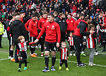 John Fleck of Sheffield Utd  prepares to applaud the fans during the championship match at the Bramall Lane Stadium, Sheffield. Picture date 28th April 2018. Picture credit should read: Simon Bellis/Sportimage