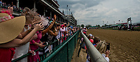 LOUISVILLE, KY - MAY 04: Fans cheer as the horses run by during an undercard race on Kentucky Oaks Day at Churchill Downs on May 4, 2018 in Louisville, Kentucky. (Photo by Eric Patterson/Eclipse Sportswire/Getty Images)