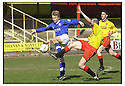 27th April 2001   Copyright Pic : James Stewart .Ref :                           .File Name : stewart01-albion rovers v cowdenbeath.GRAEME BROWN SHOOTS AT GOAL AS ALBION'S TOM TAIT MAKES A CHALLENGE.....James Stewart Photo Agency, Stewart House, Stewart Road, Falkirk. FK2 7AS      Vat Reg No. 607 6932 25.Office : +44 (0) 1324 630007     Mobile : 07721 416997.Fax     :  +44 (0) 1324 630007.E-mail : jim@jspa.co.uk.If you require further information then contact Jim Stewart on any of the numbers above.........