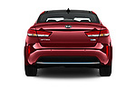 Straight rear view of a 2017 KIA Optima Plug-In Hybrid Fusion 4 Door Sedan stock images
