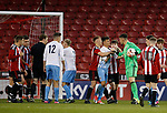 Last minute goalmouth scramble saved by Hugo Warhurst of Sheffield Utd during the Professional Development League play-off final match at Bramall Lane Stadium, Sheffield. Picture date: May 10th 2017. Pic credit should read: Simon Bellis/Sportimage