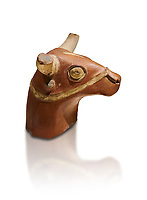Hittite terra cotta bull head - 17th -16th century BC- Hattusa ( Bogazkoy ) - Museum of Anatolian Civilisations, Ankara, Turkey . Against white background
