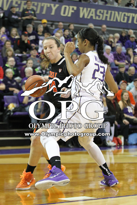 Feb 06, 2015:  Oregon State's Ali Gibson against Washington.  Washington defeated Oregon State 76-67 at Alaska Airlines Arena in Seattle, WA.