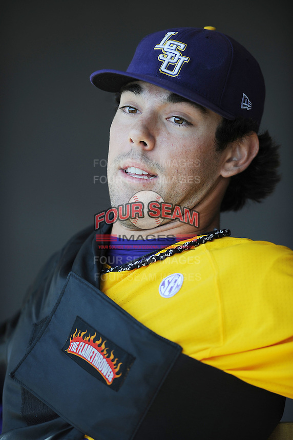 Anthony Ranaudo #23 of the LSU Tigers rests between innings at Lindsey Nelson Stadium in game against Tennessee Volunteers in Knoxville, TN March 27, 2010 (Photo by Tony Farlow/Four Seam Images)