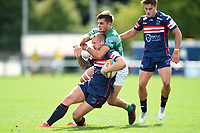 Lloyd Hayes of Doncaster Rugby is tackled high. Pre-season friendly match, between Doncaster Knights and Newcastle Falcons on August 25, 2018 at Castle Park in Doncaster, England. Photo by: Patrick Khachfe / Onside Images