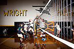 The varsity volleyball team practices at Wright Senior High School in Wright, Wyoming August 2011. Wright's population teeters around 1,500. The town was settled in the 1970s with the start of the Black Thunder Coal Mine, one of the most productive in the United States.