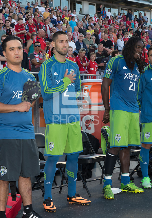 August 10, 2013: Seattle Sounders FC forward Clint Dempsey #2 during the opening ceremonies  in an MLS regular season game between the Seattle Sounders and Toronto FC at BMO Field in Toronto, Ontario Canada.<br /> Seattle Sounders FC won 2-1.